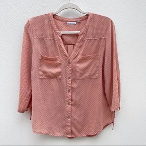 New York & Company studded blouse dusty rose gold